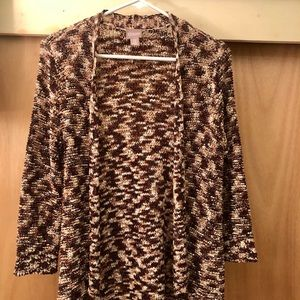 Chico's polyester print brown cardigan